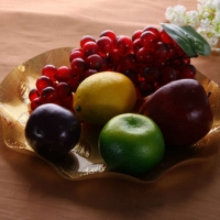 DoreenBeads Acrylic Plate Dish Gold Color Irregular Pattern Fruit Snack Candy Food Plate Dish Tableware Party 12.5X12.5X2cm 1 PC