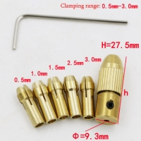 7Pcs Mini Drill Chucks 0.5-3.0mm Fit For Micro Twist Electronic Dremel Drill Collet Clamp Set Power Tool Accessories With Wrench