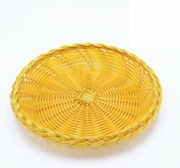 DoreenBeads Yellow Plastic Round Dish Plate Hot Pot Vegetable Bread Snack Fruit Dessert Holder Storage 22*4CM Party Bar 1 PC