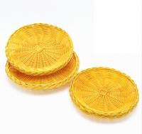 DoreenBeads Yellow Plastic Round Dish Plate Hot Pot Vegetable Bread Snack Fruit Dessert Holder Storage 22*4CM Party Bar 1 PC
