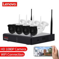 LENOVO 4CH Array HD Home WiFi Wireless Security Camera System DVR Kit 108oP CCTV WIFI Outdoor Full HD NVR Surveillance Kit Rated